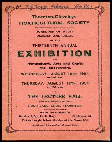 TCHS- Show Programme 1954